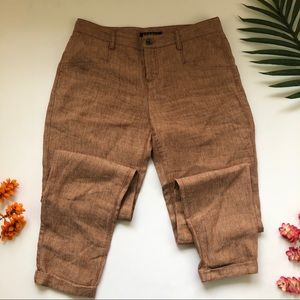 Theory pink/ brown linen trouser pants